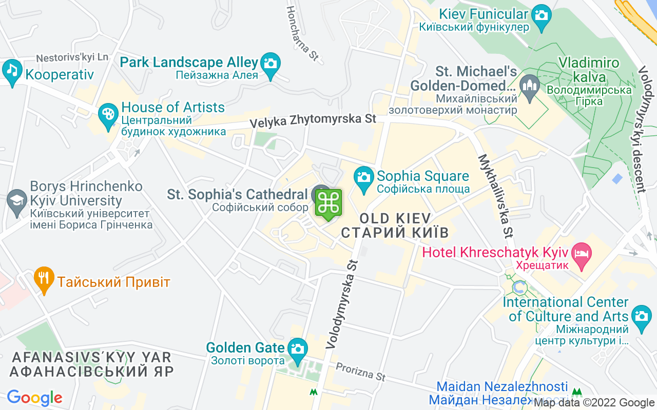 Map showing location of St Sophia's Cathedral