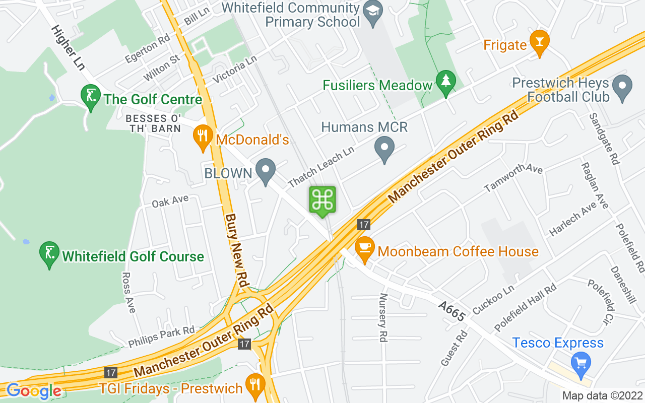Map showing location of Besses o' th' Barn Metrolink Station