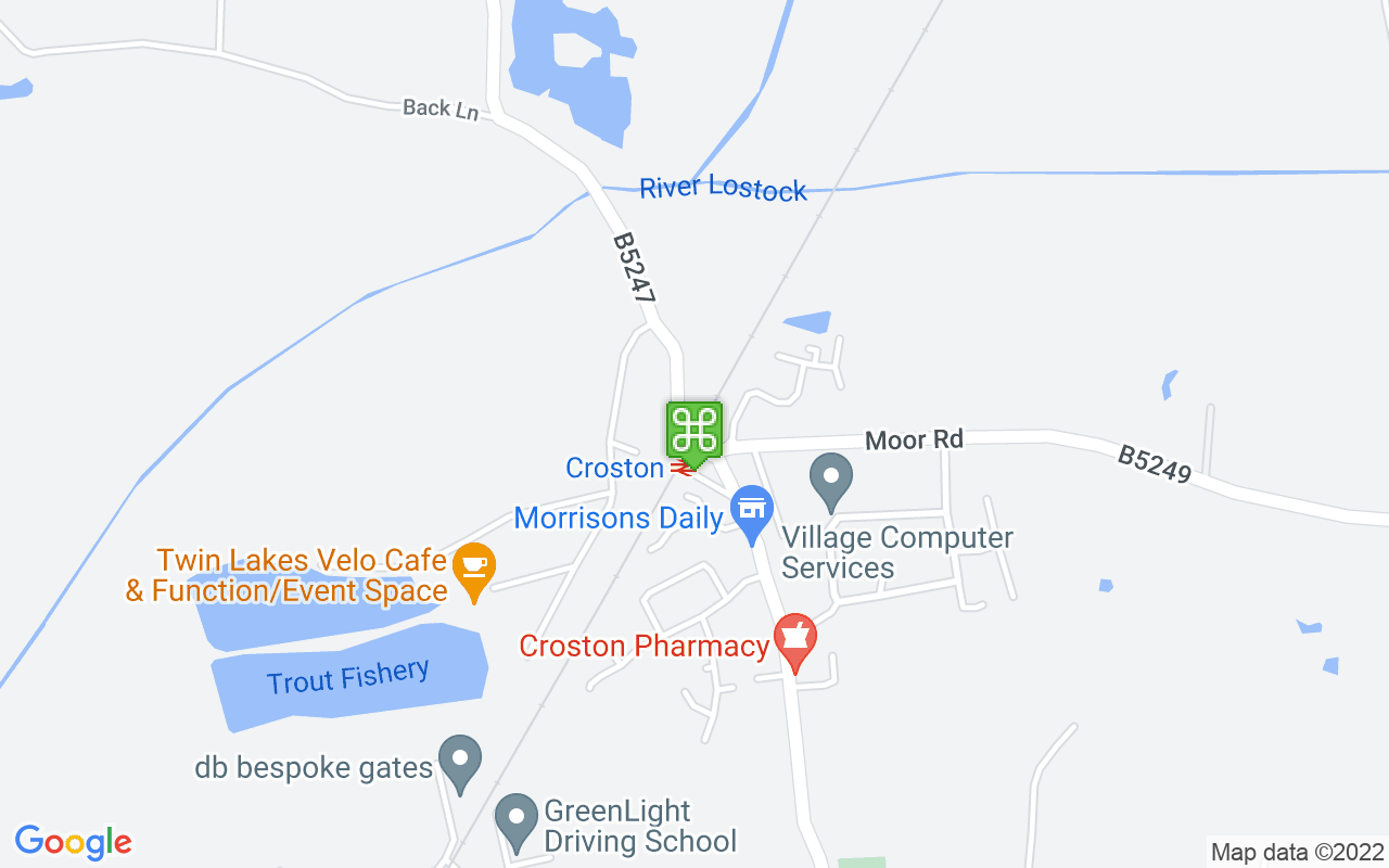 Map showing location of Croston Train Station