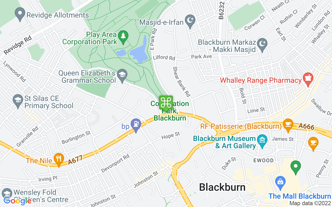 Map showing location of Corporation Park
