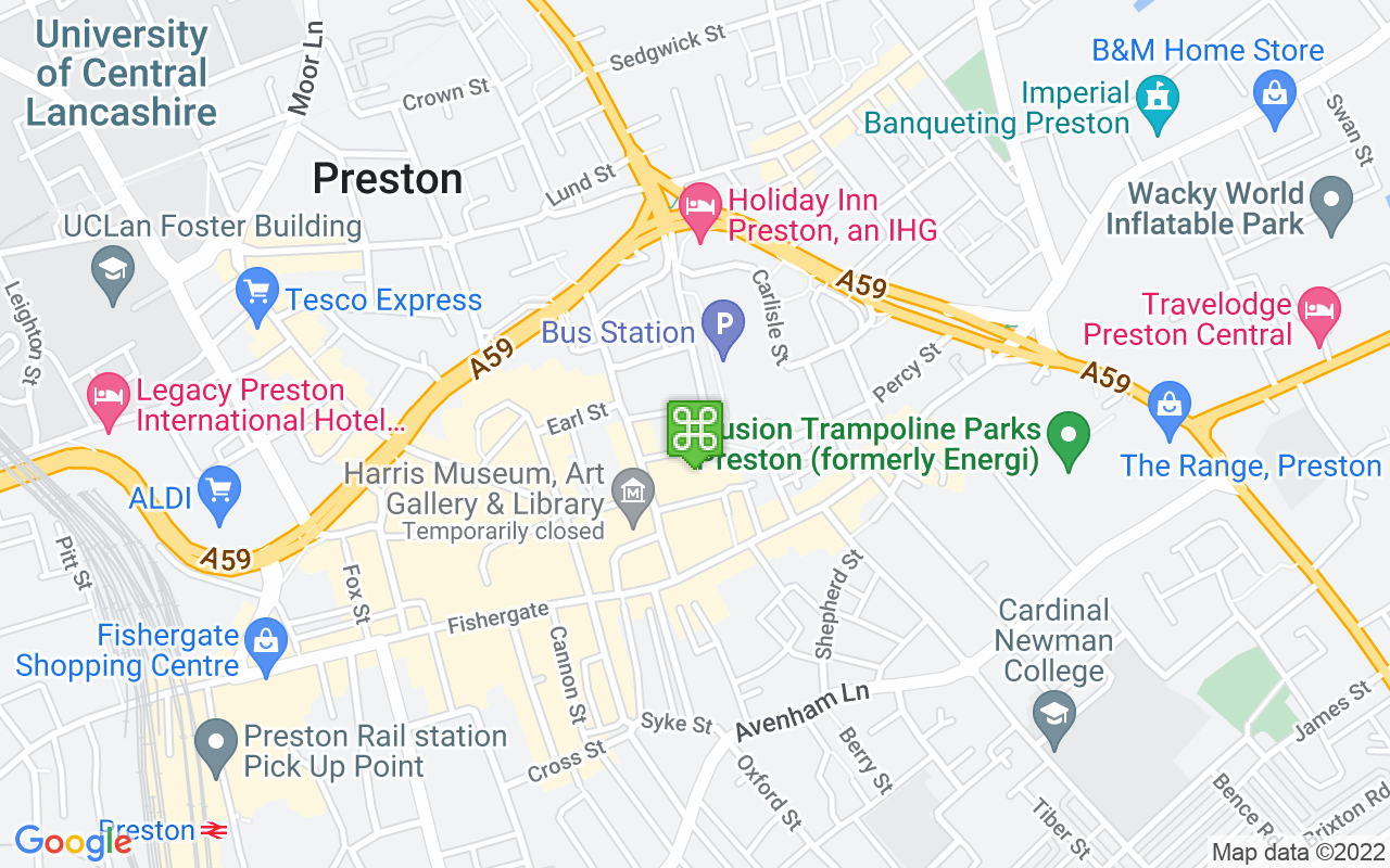 Map showing location of Preston Bus Station