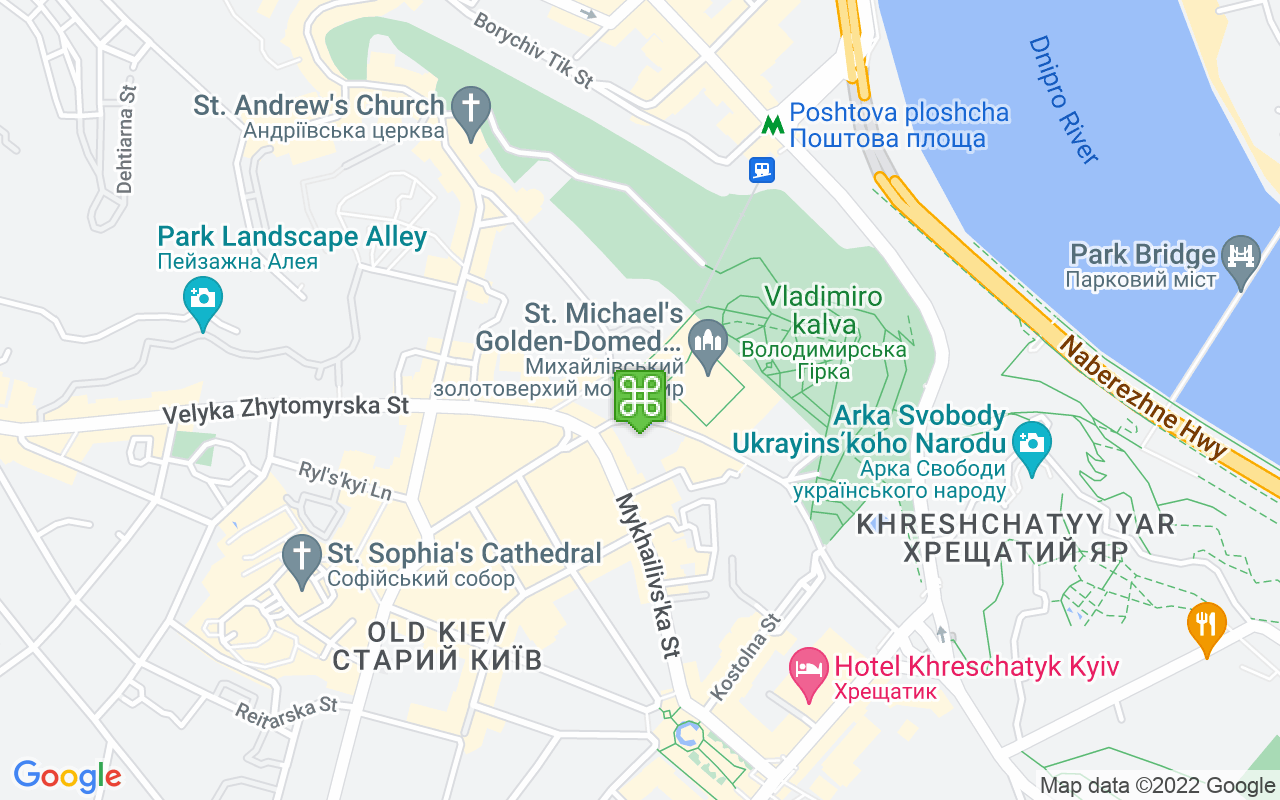 Map showing location of St Michael's Golden-Domed Monastery