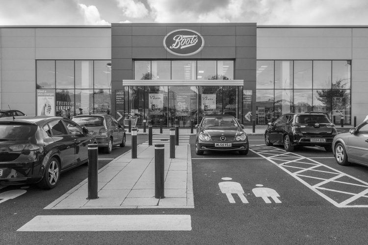 Boots store at Gemini Retail Park in Warrington, Cheshire