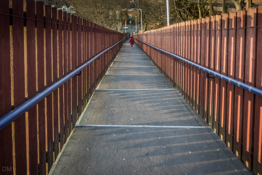 Stairs to platform at Hall i' th' Wood Train Station in Bolton