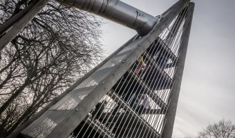 The giant slide at the playground in Heaton Park, Manchester
