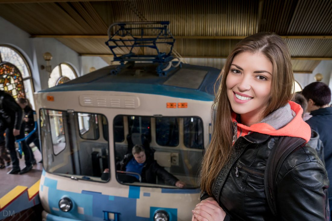 Model at the upper station of the Kiev Funicular railway