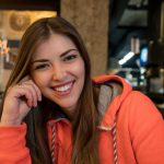 Ukrainian girl in the Star Burger restaurant in Kiev, Ukraine