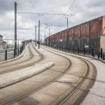 Photograph of the Metrolink line outside Rochdale Train Station