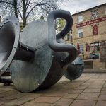 Tilted Vase sculpture in Ramsbottom, Bury