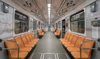 Interior of a carriage on a Kiev Metro train.