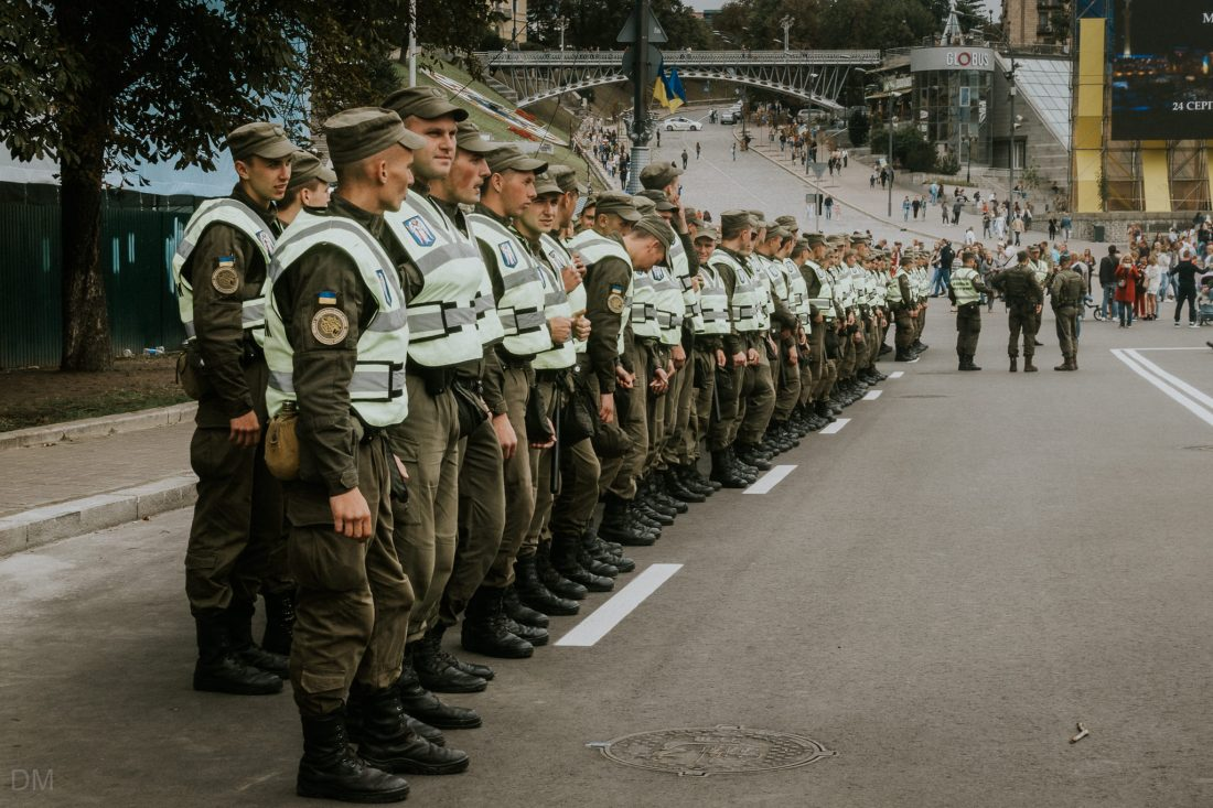 Ukrainian army soldiers lining up on Independence Square in Kiev city centre.